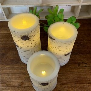 Birch Bark Battery-Operated Candles